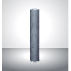 TRANGO LED Stehlampe, 1241L Modern Design LED Stehleuchte *MILAN* inkl. 2x E14 LED Leuchtmittel Stehlampe mit Stoffschirm in GRAU mit Mond-Dekor, Standleuchte, Deko-Stehlampe, Wohnzimmer Lampe, Höhe ca. 100cm grau