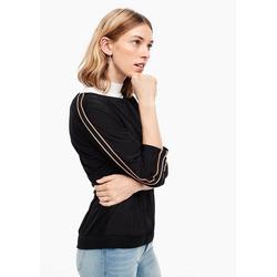 s.Oliver 3/4-Arm-Shirt Fabric-Mix-Shirt mit Tape (1-tlg) Tape schwarz 34