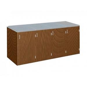 Binto 4er Mülltonnenbox Hartholz mit Klappdeckel Edelstahl