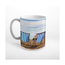 DesFoli Tasse Meer Strand Sonnenstühle Sonnenschein T1847, Keramik weiß