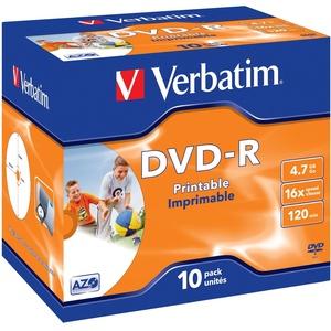 Verbatim DVD-R Wide Inkjet Printable 4.7GB I 10er Pack Jewel Case l I DVD Rohlinge bedruckbar I 16-fache Brenngeschwindigkeit & Hardcoat Scratch Guard I DVD-R Rohlinge printable I DVD leer