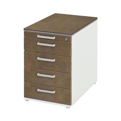 röhr Container, Rollcontainer object plus mit gedämpftem Selbsteinzug, Zentralverschluss und Auszugssperre braun