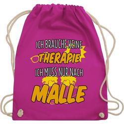 Shirtracer Turnbeutel Ich brauche keine Therapie ich muss nur nach Malle - Urlaub - Turnbeutel rosa