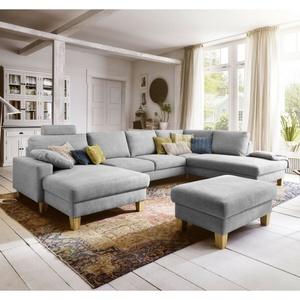 Wohnlandschaft Coast Eckgarnitur U-sofa In Stoff Silber Federkern 164x324x220 Cm