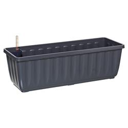 Dehner Blumenkasten Aqua-Flor Plus mit Bewässerungssystem, Kunststoff grau 58,5 cm x 19 cm x 22 cm