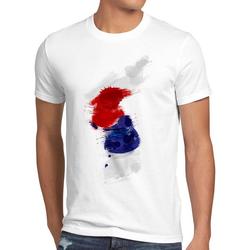 style3 Print-Shirt Herren T-Shirt Flagge Korea Fußball Sport Hangug WM EM Fahne weiß XL