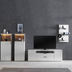 Designer Wohnwand in Weiß und mit Recyclingholz 300 cm breit (4-teilig)