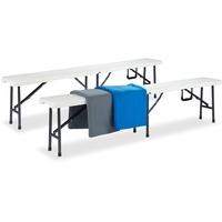 Relaxdays Bierbank 180 x 25 x 42 cm weiß klappbar 2 Stück