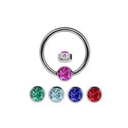Adelia´s Nasenpiercing Nasenpiercing, Titan Set - Ring mit + 5 Wechsel Klemmplatten mit bunten Steinen