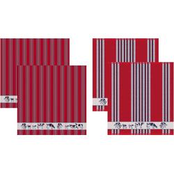 DDDDD Geschirrtuch Friesian, (Set, 4-tlg), Combiset: 2 Küchentücher & 2 Geschirrtücher rot