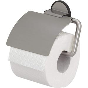 Tiger Tune Toilettenpapierhalter mit Deckel, Montage ohne Bohren dank integrierter Klebefolie, optional Befestigung zum Schrauben, Edelstahl gebürstet/Schwarz, 150 x 123 x 33 mm