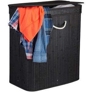 Relaxdays Wäschekorb Bambus, rechteckiger Wäschesortierer, 2 Fächer, Klappdeckel, platzsparend faltbar, 95 l, schwarz
