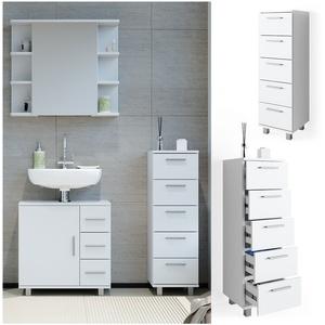 VICCO Badschrank ILIAS Weiß Midischrank Bad Schrank Badregal Badezimmer