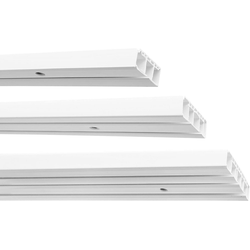 Gardinenstange Kunststoff Gardinenschiene, 1-/2-/3-läufig, weiß, Garduna, 2-läufig 720 cm