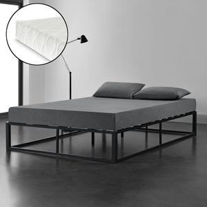 En.casa Metallbett + Matratze 160x200cm Schwarz Design Bett Schlafzimmer Metall