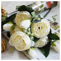 Kunstblume Gefälschte Rosenblume, Gotui, Hortensien-Blumenstrauß für Haupthochzeitsdekor,5 Kopf Blume,Weiß