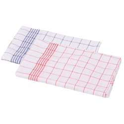 Floorstar Geschirr-Handtücher Halbleinen, Maße: 50 x 70 cm, ideal für Geschirr- und Gläser, 1 Stück, rot-weiß kariert