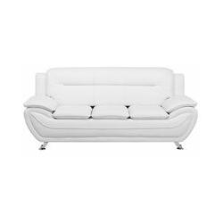 Weißes Dreisitzer Sofa Kunstleder Modern Designersofa Couch Leira