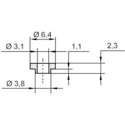 TRU Components TC-V5731-203 Isolierscheibe Außen-Durchmesser: 6.4 mm, 3.8mm Innen-Durchmesser: 3.1m