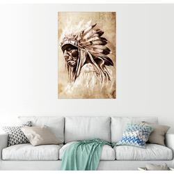 Posterlounge Wandbild, Alter Indianer mit Federschmuck 40 cm x 60 cm