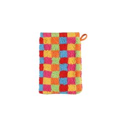 Cawö Waschhandschuh Lifestyle Karo in multicolor hell, 16 x 22 cm