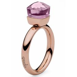 qudo Fingerring Firenze small, 635633, mit Glasstein rosa 54