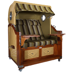 Strandkorb Mahagoni XL grün / braun 21⁄2 Sitzer