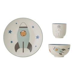 Bloomingville Geschirr Set Space, blau, Keramik, 4er Set
