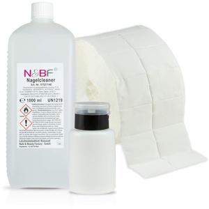 N&BF Nagel Cleaner Set 1000ml + Dispenser Pumpflasche + 1000 Zelletten Cellulose Pads (2 Rollen à 500 Stück) - 70% Isopropanol-Alkohol isopropylalkohol 1L – für Gelnägel – Nagelreiniger (Schwarz 150)