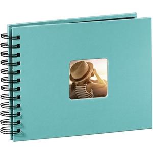 Hama Fotoalbum 24x17 cm (Spiral-Album mit 50 schwarzen Seiten, Fotobuch mit Pergamin-Trennblättern, Album zum Einkleben und Selbstgestalten) türkis
