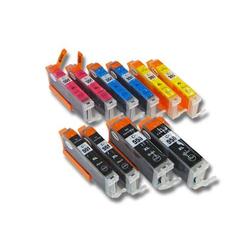 vhbw 10x Druckerpatronen Tintenpatronen Set mit Chip für Canon Pixma MG5650, MG6350, MG6450, MG6650, MG7150 wie CLI-551BK/C/M/Y, PGI-550BK.