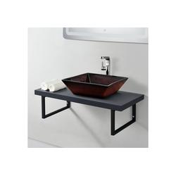 neu.haus Waschtisch, Waschtischplatte 100x45x30cm Waschtischkonsole mit Handtuchhalter dunkelgrau grau