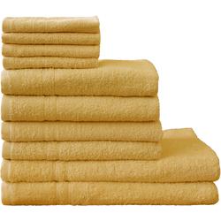 Dyckhoff Handtuch Set Kristall, mit feiner Bordüre gelb Handtuch-Sets Handtücher Badetücher