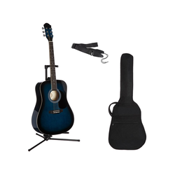 Gitarrenset Westerngitarre 4/4, mit Tasche und Gitarrengurt blau