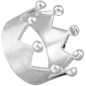 Vinani Silberring, Vinani Ring Krone gebürstet mit glänzenden Spitzen Sterling Silber 925 RKR 60 (19.1)