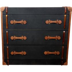 Casa Padrino Vintage Koffer Kommode Anthrazit Canvas mit Echt Leder und Holz - Koffer Schrank