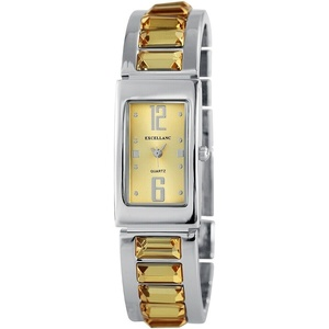 Excellanc Damen Armbanduhr Spangenuhr silber gelb analog Quarz Damenuhr modern