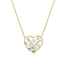 Florale Herzkette aus 14K Gold