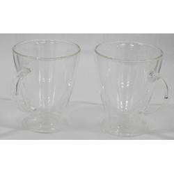 ZELLERFELD Teeglas 2 x Teegläser Kaffeegläser mit Henkel Doppelwand 250ml ideal für Tee, Kaffee, Kakao, Cappucino Heat-Resistant Glass 300 ml