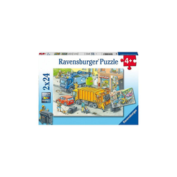 Ravensburger Puzzle Puzzle Müllabfuhr und Abschleppwagen, 2x24 Teile, Puzzleteile