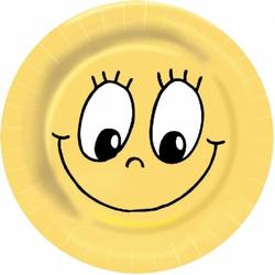 Party-Pappteller rund  Ø 23cm, bunt - Design `SMILEY`, 10 Stk.