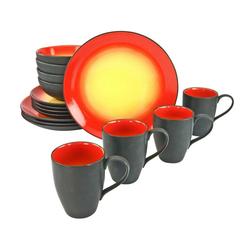 CreaTable Tafelservice 20200 Serie HOT RED Geschirrset Kombiservic (16-tlg), Steingut