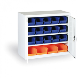 Schrank mit kunststoffboxen - 800 x 920 x 400 mm, 18xb/4xc, grau/graue