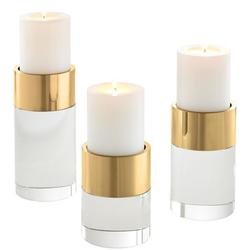 Casa Padrino Luxus Kristallglas Kerzenhalter Set Gold - Wohnzimmer Deko