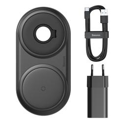 Baseus Baseus Qi Wireless Charger Ladegerät 10W + USB Typ C Kabel 3A 1M + Wandladegerät 12 V / 2A für iPhone, Watch, Air Pods schwarz Wireless Charger