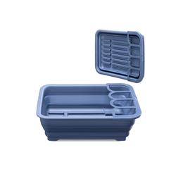 Navaris Geschirrständer, Geschirrkorb Abtropfgestell für Geschirr - Abtropfständer Abtropfkorb mit Abfluss - Abtropfschale für Camping Wohnmobil Küche - faltbar blau