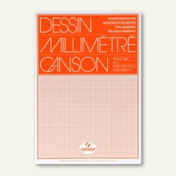 Canson Millimeterpapier-Block DIN A4, 90 g/m², weiß/orange, 50 Blatt, 67501