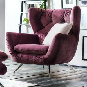 Sessel Sixty 1-Sitzer Bezug in Velour Stoff purple mit Metallgestell Chrom 100cm