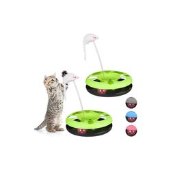 relaxdays Tier-Kugelbahn 2 x Katzenspielzeug mit Maus grün, Kunststoff