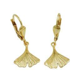 Gallay Paar Ohrhänger Brisur, 27mm, Ginkgoblatt, 9Kt GOLD (inkl. Schmuckbox), Goldschmuck für Damen